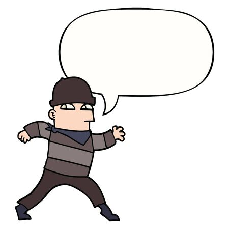 ladrón de dibujos animados con globo de discurso