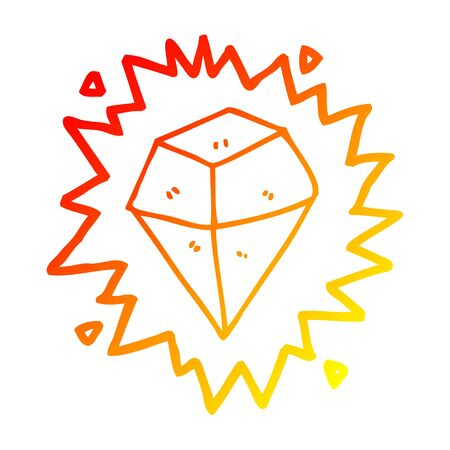 warm gradient line drawing of a cartoon shining crystal Ilustrace