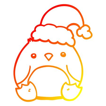 warm gradient line drawing of a cute cartoon penguin wearing christmas hat