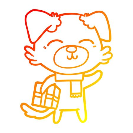 warm gradient line drawing of a cartoon dog ready for xmas