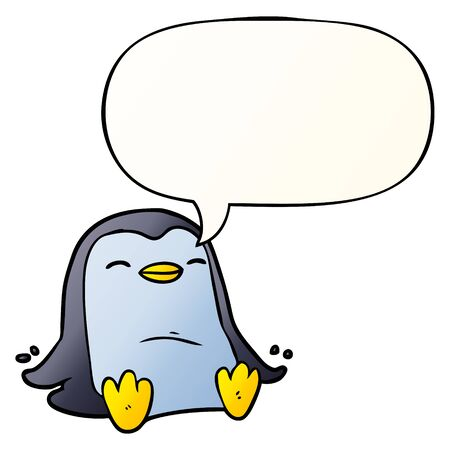cartoon penguin with speech bubble in smooth gradient style