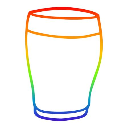 rainbow gradient line drawing of a cartoon pint