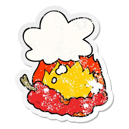 cartoon hot chili pepper with thought bubble as a distressed worn sticker