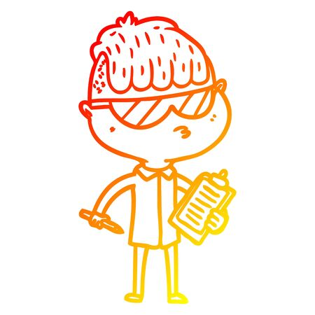 warm gradient line drawing of a cartoon boy wearing sunglasses