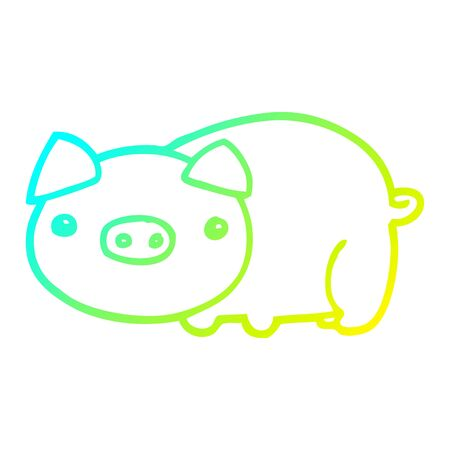 cold gradient line drawing of a cartoon pig Illustration