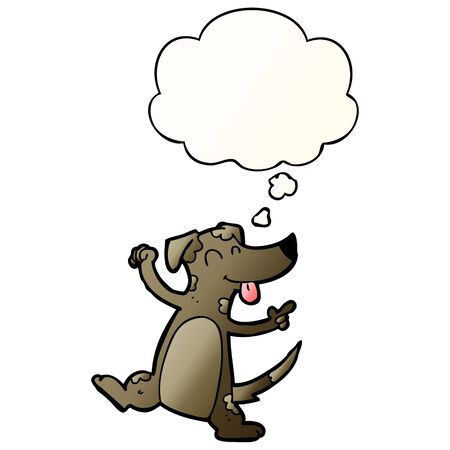 cartoon dancing dog with thought bubble in smooth gradient style
