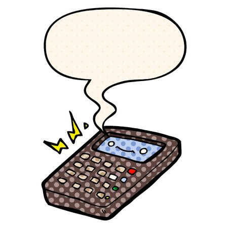 cartoon calculator with speech bubble in comic book style