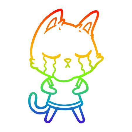 rainbow gradient line drawing of a crying cartoon cat  イラスト・ベクター素材