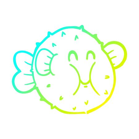 cold gradient line drawing of a cartoon puffer fish