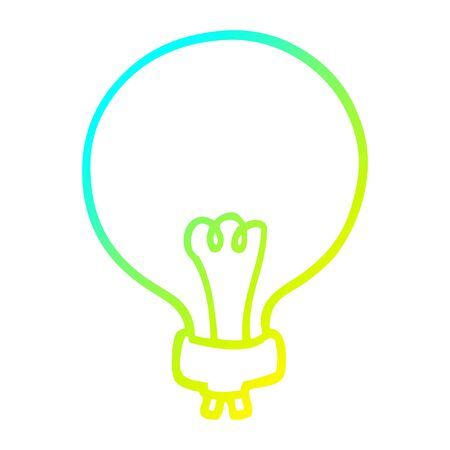 cold gradient line drawing of a cartoon light bulb