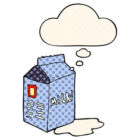 cartoon milk carton with thought bubble in comic book style