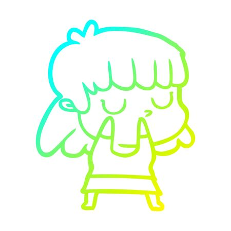 cold gradient line drawing of a cartoon indifferent woman 일러스트