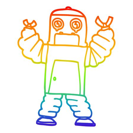 rainbow gradient line drawing of a cartoon robot 向量圖像