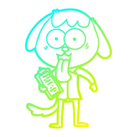 cold gradient line drawing of a cute cartoon dog wearing office shirt Ilustracja