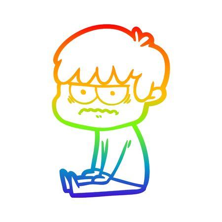 rainbow gradient line drawing of a annoyed cartoon boy Ilustrace