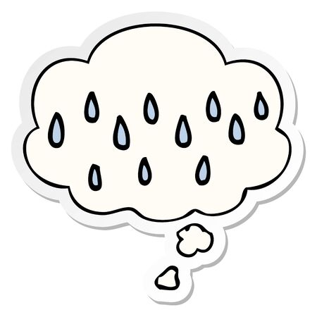 cartoon rain with thought bubble as a printed sticker  イラスト・ベクター素材