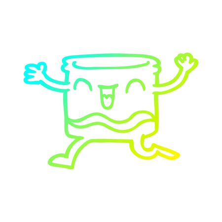 cold gradient line drawing of a cartoon happy tumbler Illustration