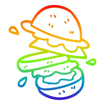 rainbow gradient line drawing of a cartoon burger