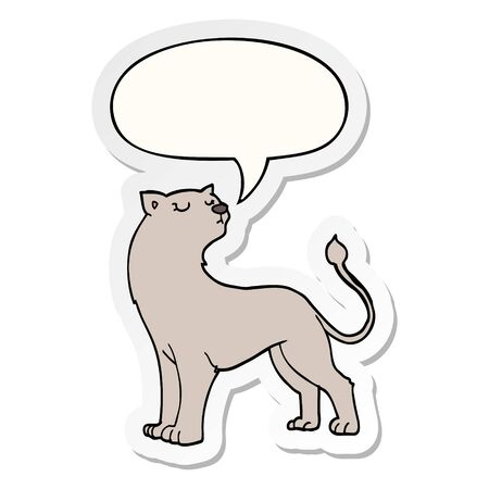 cartoon lioness with speech bubble sticker Illustration