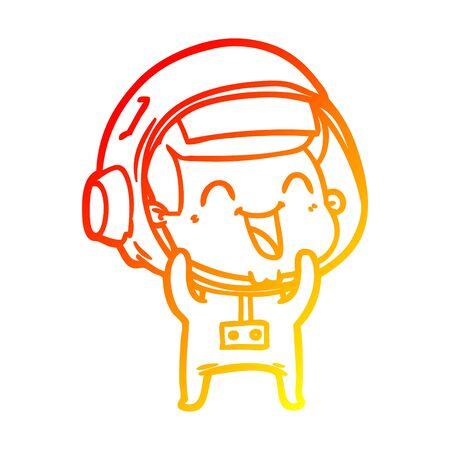 warm gradient line drawing of a happy cartoon astronaut