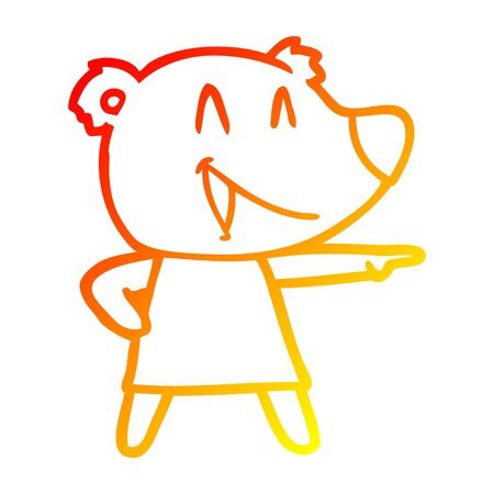 warm gradient line drawing of a cartoon bear in dress laughing and pointing