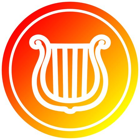 musical instrument harp circular icon with warm gradient finish