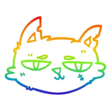 rainbow gradient line drawing of a cartoon tough cat face