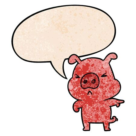 cartoon angry pig pointing with speech bubble in retro texture style Çizim