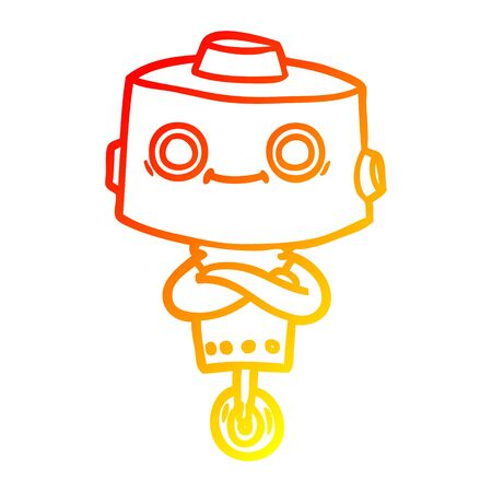 warm gradient line drawing of a cartoon robot Ilustracja