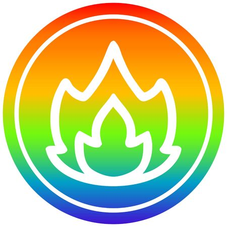 simple flame circular icon with rainbow gradient finish