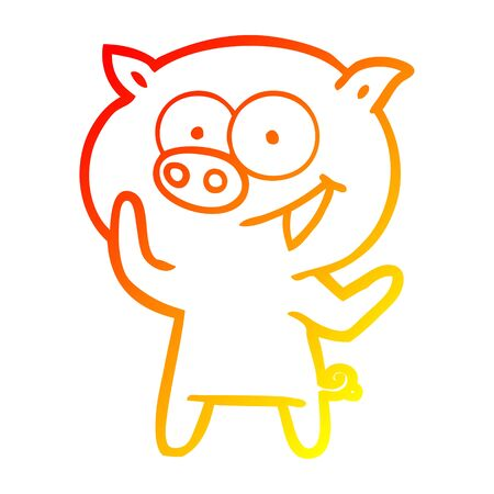 warm gradient line drawing of a cheerful pig cartoon