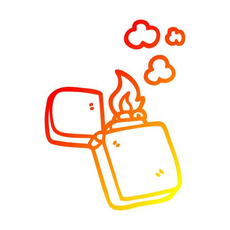 warm gradient line drawing of a cartoon old lighter Иллюстрация
