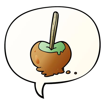cartoon toffee apple with speech bubble in smooth gradient style