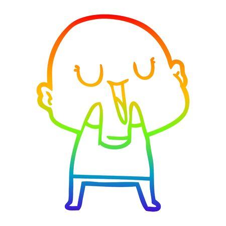 rainbow gradient line drawing of a happy cartoon bald man