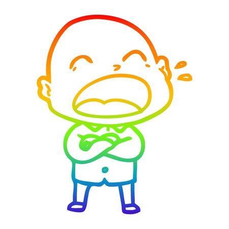 rainbow gradient line drawing of a cartoon shouting bald man