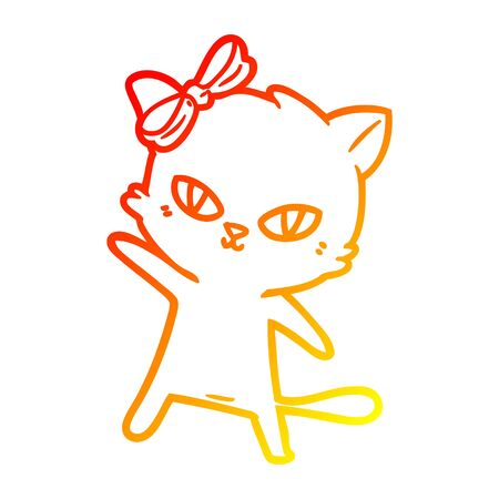 warm gradient line drawing of a cute cartoon cat Çizim