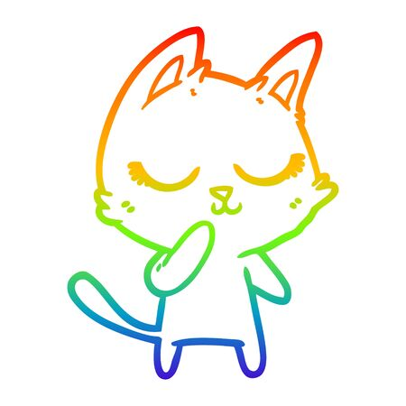 rainbow gradient line drawing of a calm cartoon cat considering