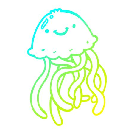 cold gradient line drawing of a cartoon happy jellyfish Banque d'images - 129255273