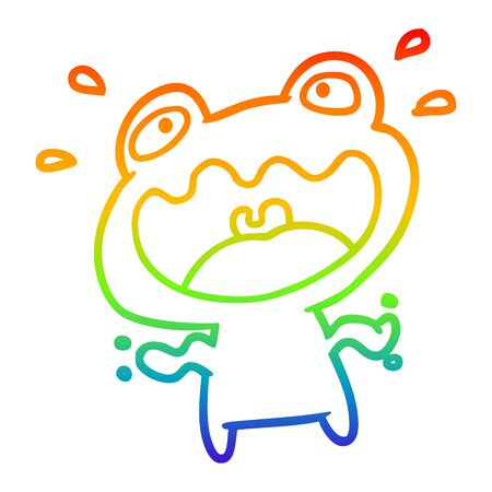 rainbow gradient line drawing of a cute frog frightened Çizim