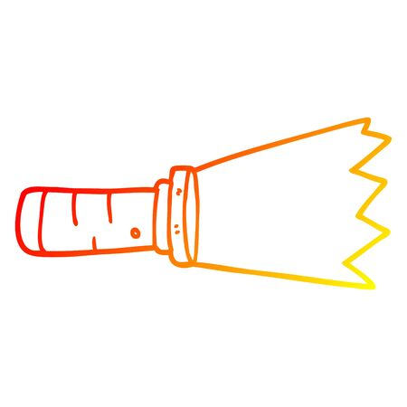 warm gradient line drawing of a cartoon lit torch Stock Illustratie