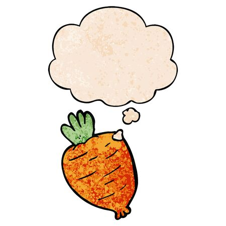 cartoon root vegetable with thought bubble in grunge texture style Ilustracja