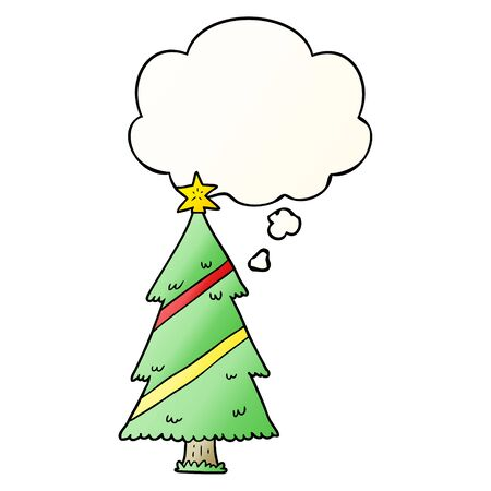 cartoon christmas tree with thought bubble in smooth gradient style