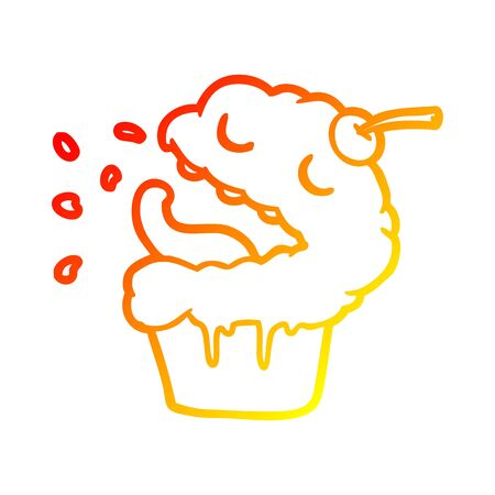 warm gradient line drawing of a funny cupcake