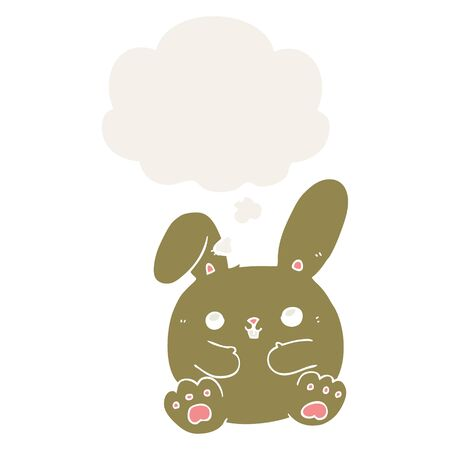 cartoon rabbit with thought bubble in retro style