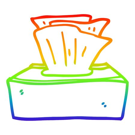 rainbow gradient line drawing of a cartoon box of tissues