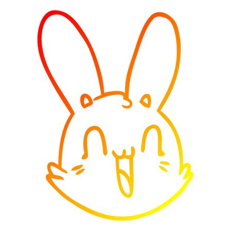 warm gradient line drawing of a cartoon crazy happy bunny face