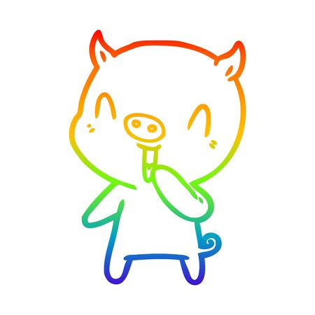 rainbow gradient line drawing of a happy cartoon pig Çizim