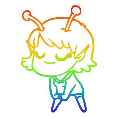 rainbow gradient line drawing of a smiling alien girl cartoon 일러스트