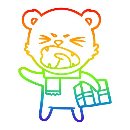 rainbow gradient line drawing of a angry cartoon polar bear with christmas present