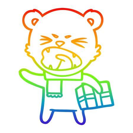 rainbow gradient line drawing of a angry cartoon polar bear with christmas present